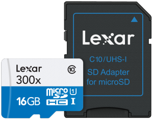 Memoria Lexar 16gb C10 C/adap 300x microsdxc uhs-i
